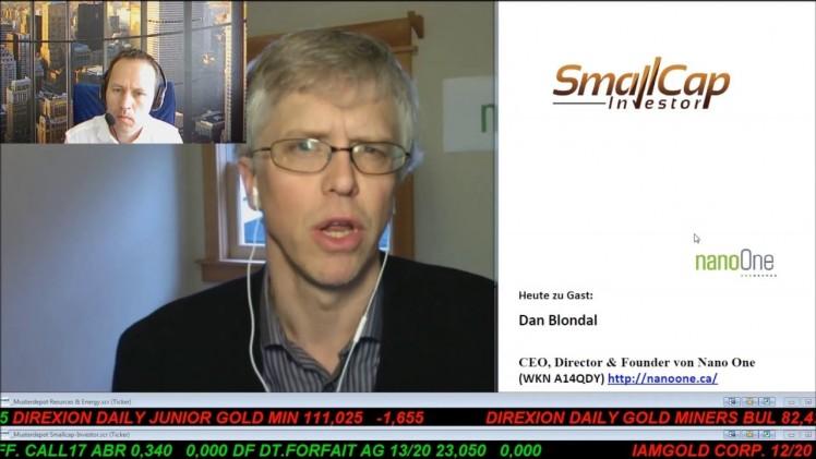 Smallcap-Investor Interview mit Dan Blondal von Nano One (WKN A14QDY)