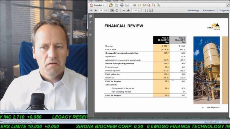 SmallCap-Investor Talk 609 über KTG Energie, Energy XXI, DAX, DRDGold und Caledonia