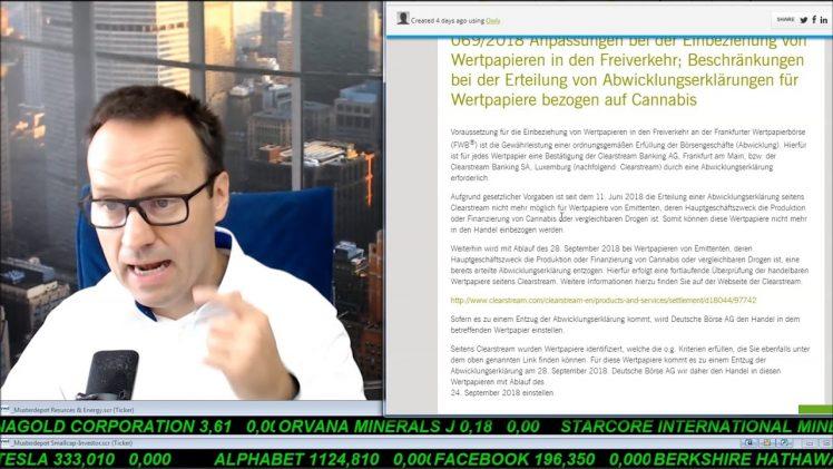 SmallCap-Investor Talk 787 über Gold, DAX, Dow, Dt. Post und Cannabiswerte