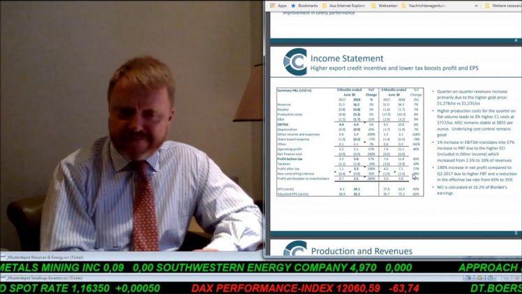 SmallCap-Investor Interview mit Mark Learmonth, CFO von Caledonia Mining (WKN A2DY13)