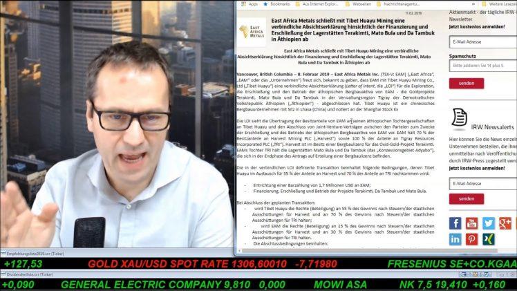 SmallCap-Investor Talk 869 über DAX, Gold, Mattel, Coty, TUI und East Africa Metals