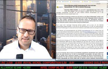 SmallCap-Investor Talk 908 über DAX, Dow, Gold, Sirona, Royal Nickel, Legacy