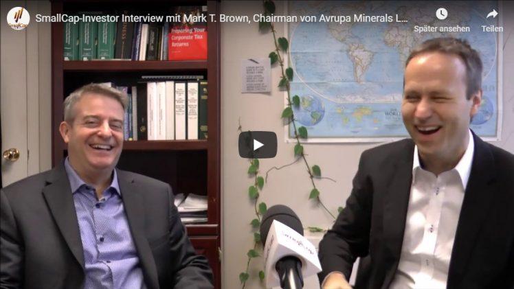 SmallCap-Investor Interview mit Mark T. Brown, Chairman von Avrupa Minerals Ltd. (WKN A1JJQM)