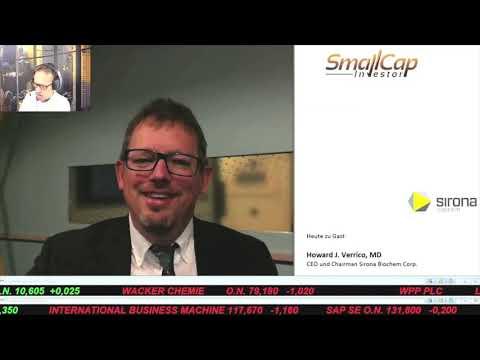 SmallCap-Investor Interview mit Howard J. Verrico MD, CEO von Sirona BioChem (WKN A0RM6R)
