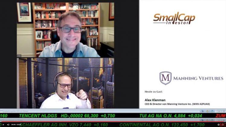 SmallCap-Investor Interview mit Alex Klenman, CEO und Direktor von Manning Venture (WKN A2PUAX)