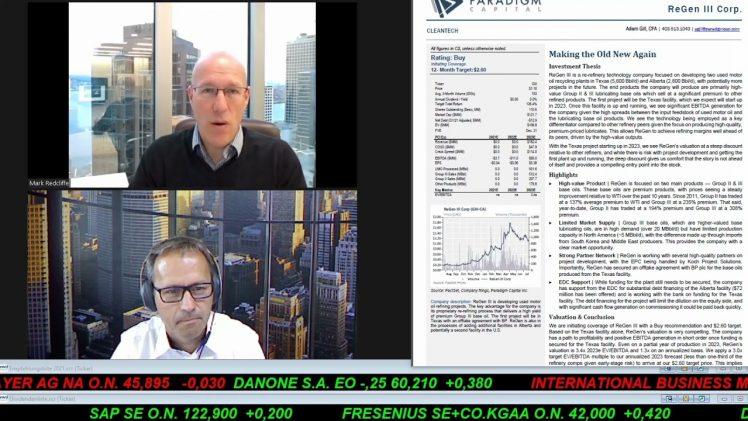 SmallCap-Investor Interview mit Mark Redcliffe, EVP & Corporate Finance ReGen III (WKN A3CPRV)