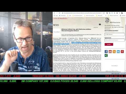 SmallCap-Investor Talk 1215 über DAX, Dow, Gold, Öl, Kryptos, Millennial Lithium